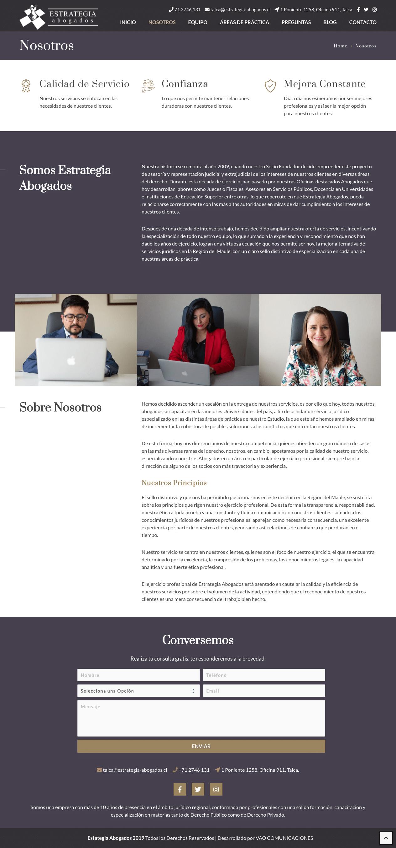 estrategia abogados sitio web Nosotros- VAO Comunicaciones