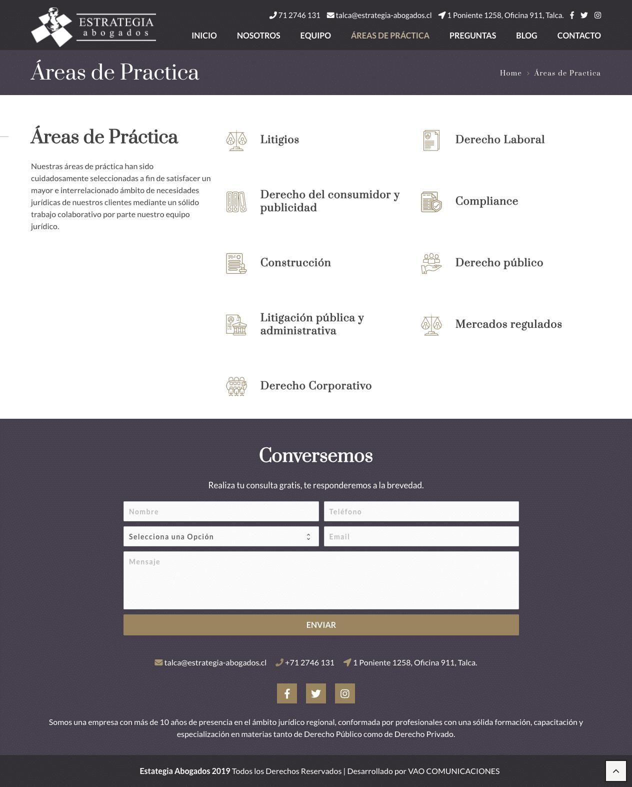 estrategia abogados sitio web áreas de practica- VAO Comunicaciones