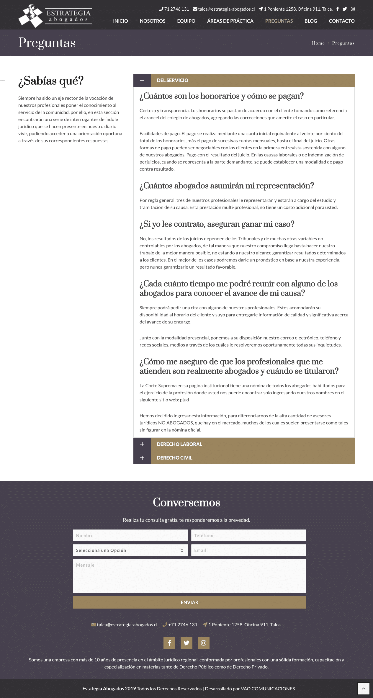 estrategia abogados sitio web preguntas - VAO Comunicaciones